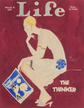 Fine Art - Painting, American, John Held Jr. (American, 1889-1958). The Thinker, Life magazinecover, March 18, 1926. Watercolor and ink on board. 13-1...
