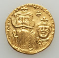 Ancients:Byzantine, Ancients: Constans II (AD 641-668) & Constantine IV (AD654-685). AV solidus (4.38 gm). AU, clipped, graffito....
