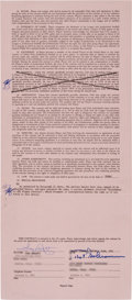 Football Collectibles:Others, 1985 Tony Dorsett Dallas Cowboys Signed Player's Contract and Addendum - Also Signed by Tex Schramm....