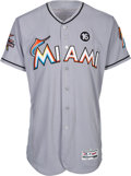 Baseball Collectibles:Uniforms, 2017 Giancarlo Stanton Home Run #16 Game Worn Miami Marlins Jersey, Photo Matched. . ...