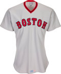 Baseball Collectibles:Uniforms, 1975 Carlton Fisk Signed Game Worn Boston Red Sox Jersey. ...