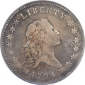 Early Half Dollars, 1794 50C O-101a, T-7, High R.3 -- Obverse Planchet Flaw, ImproperlyCleaned -- NCS Genuine. VF Details....