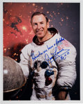 Autographs:Celebrities, James Lovell Signed White Spacesuit Color Photo with Added FamousQuote....