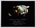 Autographs:Celebrities, James Lovell Signed Apollo 13 Damaged Service Module Color Photowith Quote. ...