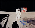 Autographs:Celebrities, Edgar Mitchell Signed Apollo 14 Lunar Surface Color Photo. ...