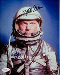 Autographs:Celebrities, John Glenn Signed Silver Spacesuit Color Photo with JSAAuthentication....