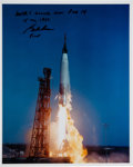 Autographs:Celebrities, Gordon Cooper Signed Mercury-Atlas 9 (Faith 7) Launch ColorPhoto. ...