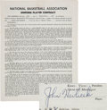 Basketball Collectibles:Others, 1966 John Havlicek Signed Boston Celtics Player's Contract....