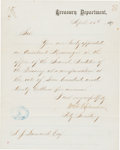 Autographs:Others, 1871 Andy Leonard Washington Olympics Baseball Contract via U.S.Treasury Department Appointment Letter.. ...