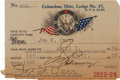 Football Collectibles:Uniforms, 1923-24 Joe Carr Signed Elks Club Pass from The Joe Carr Find. ...