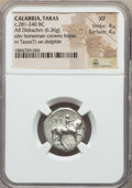 Ancients:Greek, Ancients: CALABRIA. Tarentum. Ca. 272-240 BC. AR stater or didrachm(6.36 gm). NGC XF 4/5 - 4/5....
