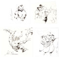 Original Comic Art:Sketches, John Buscema Apeman Studies Original Art Group of 4 (c. 1970s).... (Total: 4 Original Art)