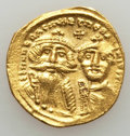 Ancients:Byzantine, Ancients: Heraclius (AD 610-641) & Heraclius Constantine (AD613-641). AV solidus (4.30 gm). About XF, clipped....