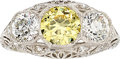 Estate Jewelry:Rings, Fancy Yellow Diamond, Diamond, Platinum Ring. ...