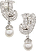 Estate Jewelry:Earrings, Diamond, Cultured Pearl, Platinum, White Gold Earrings . ...