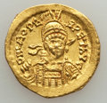 Ancients:Roman Imperial, Ancients: Leo I (AD 457-474). AV solidus (4.44 gm). Choice XF,bankers mark....