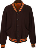 Football Collectibles:Uniforms, 1960's Cleveland Browns Game Worn & Multi-Signed Sideline Jacket....