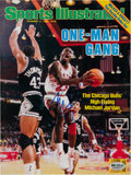 Basketball Collectibles:Photos, 1986 Michael Jordan Signed Sports Illustrated Cover Display....