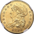 Early Half Eagles, 1810 $5 Large Date, Large 5, BD-4, R.2 -- Obverse Improperly Cleaned -- NGC Details. Unc....