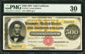 Large Size:Gold Certificates, Fr. 1216 $500 1882 Gold Certificate PMG Very Fine 30.. ...