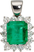 Estate Jewelry:Pendants and Lockets, Emerald, Diamond, White Gold Pendant . ...