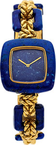 Estate Jewelry:Watches, Boucheron Lady's Lapis Lazuli, Gold Watch, French. ...