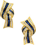 Estate Jewelry:Earrings, Sapphire, Diamond, Gold Earrings, Charles Krypell. ...
