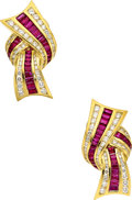 Estate Jewelry:Earrings, Ruby, Diamond, Gold Earrings, Charles Krypell. ...