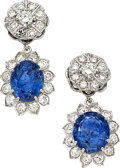 Estate Jewelry:Earrings, Sapphire, Diamond, White Gold Earrings . ...