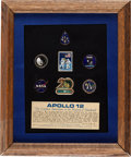 Explorers:Space Exploration, Apollo 12 Twentieth Anniversary Commemorative Pin Set in FramedDisplay Directly from the Family Collection of Mission Command...