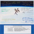 Autographs:Celebrities, Mir Space Station with Soyuz TM-Series Ship Docked Color PhotoSigned by Seven Cosmonauts. ...