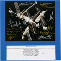 Autographs:Celebrities, Mir Space Station Color Photo Signed by Eight Cosmonauts. ...