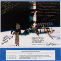 Autographs:Celebrities, Mir Space Station with Soyuz Ship Docked Color Photo Signed by FourCosmonauts. ...