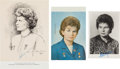 Autographs:Celebrities, Valentina Tereshkova Signed Vintage Images (Three). ...