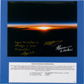 Autographs:Celebrities, Mir Space Station Color Photo of Earth Sunrise Signed by ThreeCosmonauts. ...