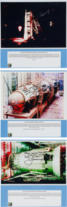 Autographs:Celebrities, Alexei Leonov Signed Soviet N1 Rocket at Baikonur Color Photos(Three). ...