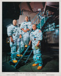 Autographs:Celebrities, James Lovell Signed Apollo 8 White Spacesuit Color Photo. ...
