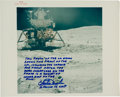 "Explorers:Space Exploration, Charlie Duke Signed Apollo 16 Original NASA ""Red Number"" LunarSurface Color Photo with Handwritten Description Directly from ..."