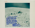 "Explorers:Space Exploration, Charlie Duke Signed Apollo 16 Original NASA ""Red Number"" Lunar Surface Color Photo with Handwritten Description Directly from ..."