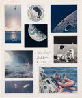 Explorers:Space Exploration, Apollo 12 Crew-Signed Photo Collage on Large Presentation MatDirectly from the Family Collection of Mission Command Module Pi...