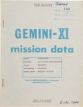 "Explorers:Space Exploration, Gemini 11 ""Air-Ground Transcript"" Book Gemini-XI Mission DataDirectly from the Family Collection of Mission Pilot Richard Gor..."