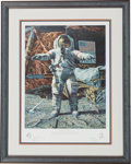 """Explorers:Space Exploration, Alan Bean Signed Limited Edition """"The Hammer and the Feather"""" Print, #382/650, also Signed by Dave Scott, in Framed Display. ..."""