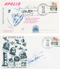 Explorers:Space Exploration, Apollo 9 Crew-Signed Launch and Splashdown Covers (Two) Directly from the Family Collection of Mission Back-up Command Module ...