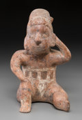 Pre-Columbian:Ceramics, A Colima Seated Figure with Spout on Back...