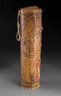 Other, A Cheyenne Painted Buffalo Hide Medicine Case. ...