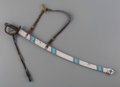 American Indian Art:Pipes, Tools, and Weapons, An Arapaho Beaded Cavalry Sword Case with Sword...
