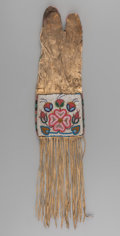 American Indian Art:Beadwork and Quillwork, A Cree Beaded Hide Tobacco Bag...