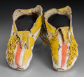 American Indian Art:Beadwork and Quillwork, A Pair of Southern Cheyenne Beaded and Fringed Hide Moccasins...(Total: 2 Items)