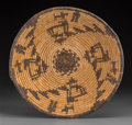 American Indian Art:Baskets, An Apache Pictorial Coiled Tray...