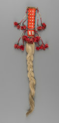 American Indian Art:Beadwork and Quillwork, A Sioux Quilled Hide Hair Drop...